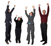 Business diverse team jumping! — Stock Photo