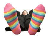 Business woman on a break - colourful socks — Stock Photo