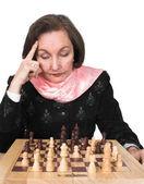 次に彼女の計画、ビジネスの女性の移動 - チェス — ストック写真