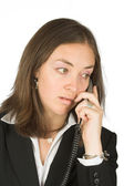 Business woman on analogue phone — Stock Photo