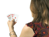 Casual woman playing cards — Stock Photo