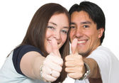 Casual couple thumbs up — Stock Photo