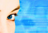 Beautiful blue eye for technology — Stock Photo