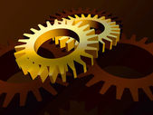 Gears in yellow — Stock Photo