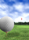Golf ball close up in a course — Stok fotoğraf