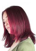 Vacker kvinna med färgade hår — Stockfoto
