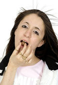 Chocolate addict teen — Stock Photo