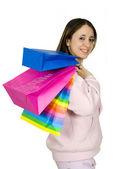 Tiener met shopping tassen — Stockfoto