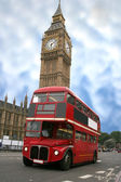 Big ben and london bus — Stock Photo