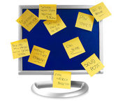 Flatscreen monitor with notes written on it — Stockfoto