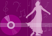 Female dancing - music elements — Stock Photo