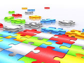 Colourful unfinished puzzle - 3d render — Stock Photo