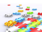 Colourful unfinished puzzle - 3d render 2 — Stock Photo