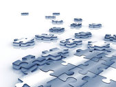 Blue tinted unfinished puzzle - 3d render — Stock Photo