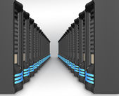 Business network of servers in perspective — Stock Photo