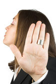 Talk to the hand - business woman — Stock Photo