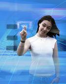 Blauwe technologische meisje — Stockfoto