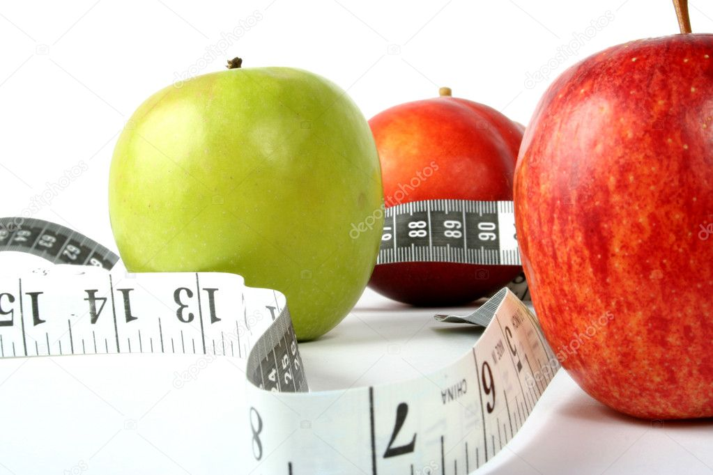 Apples with measuring tape — Stockfoto #7632938