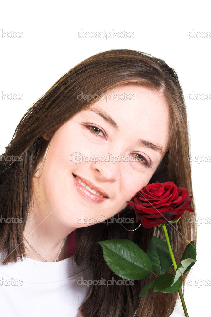 Beautiful girl with rose smiling over white — Stock Photo #7633181
