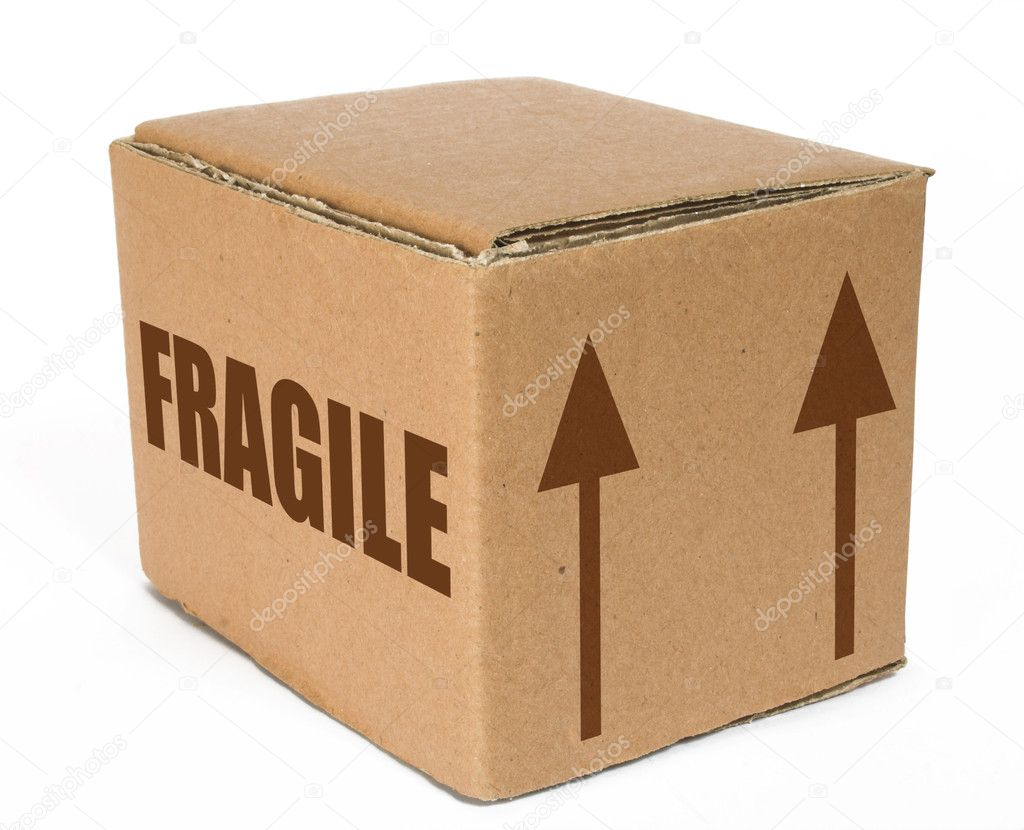 Cardboard box with the word fragile on it and arrows pointing up — Stock Photo #7633396