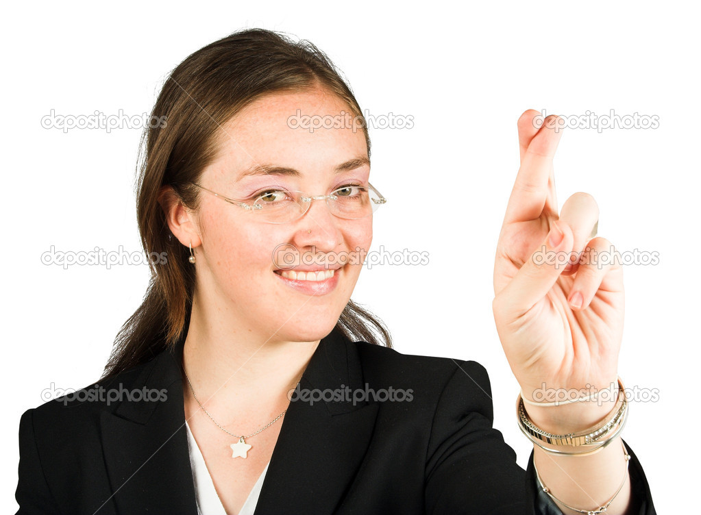 Business woman with her fingers crossed — Stock Photo #7633627