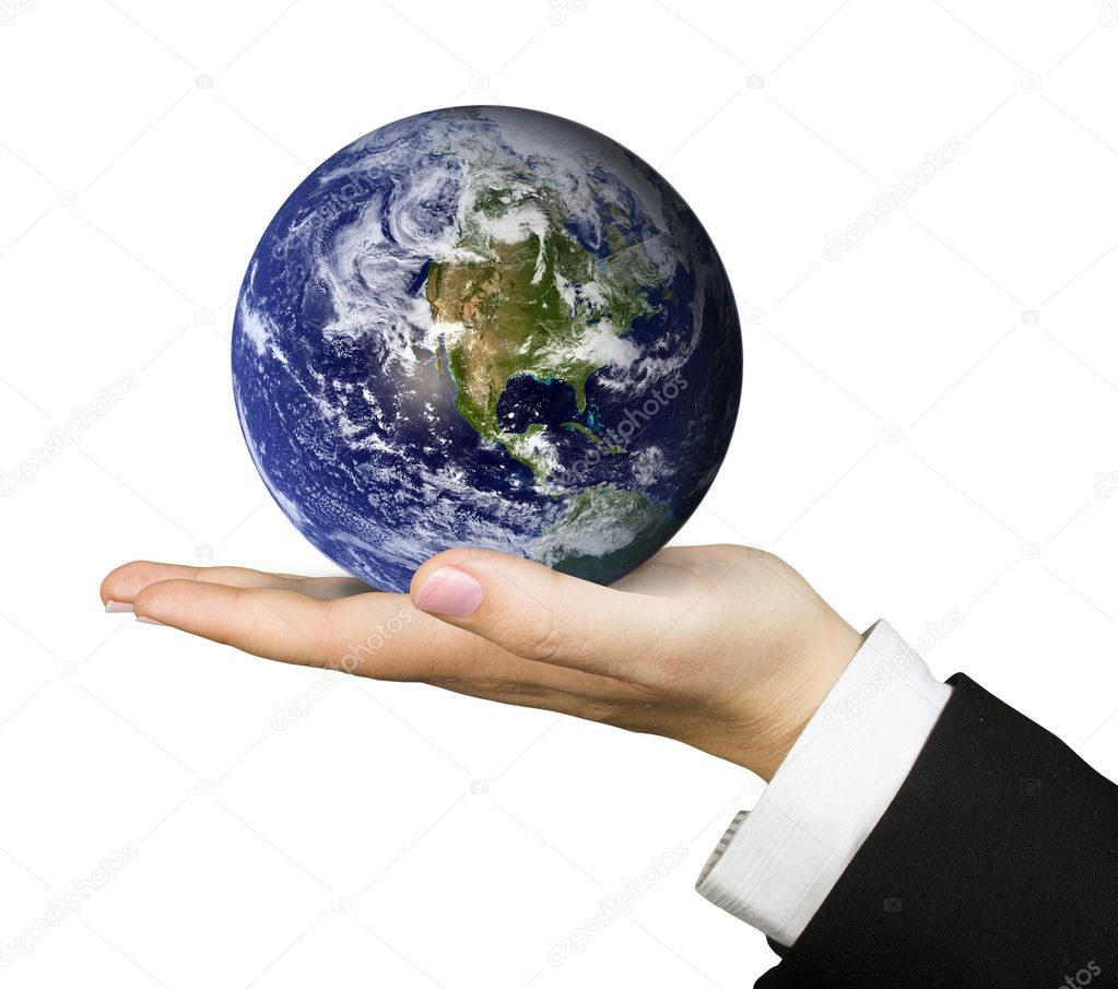 Business hand holding globe — Foto Stock #7633691