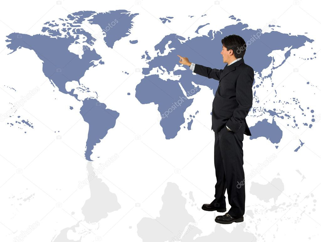 Business man presenting a world map over a white background — Stock Photo #7633714
