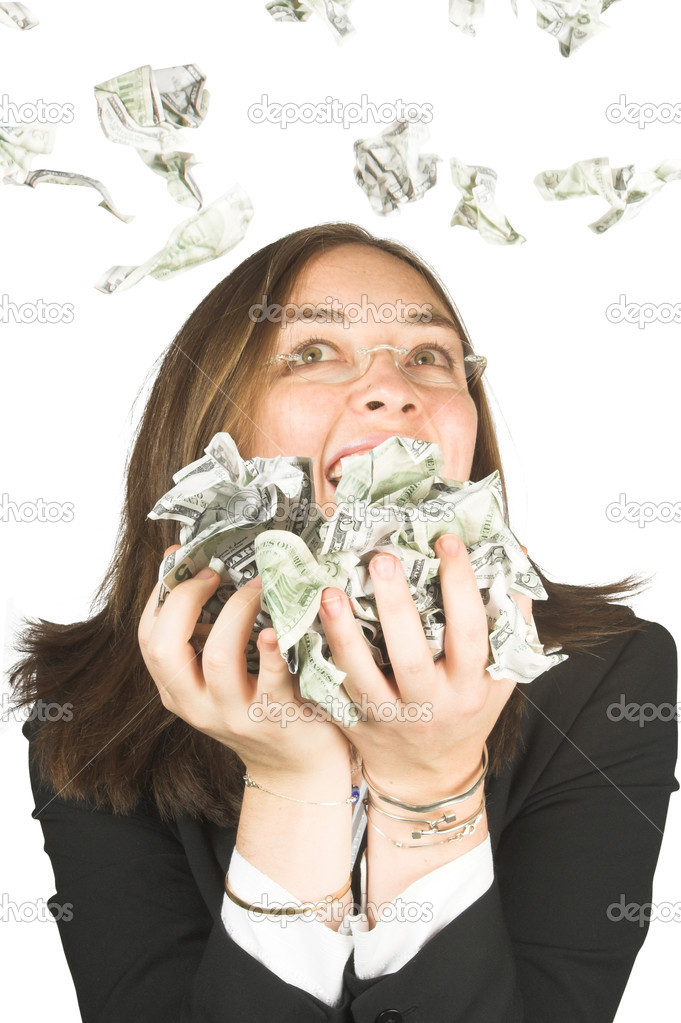 Business woman with glasses with lots of money — Foto Stock #7633896