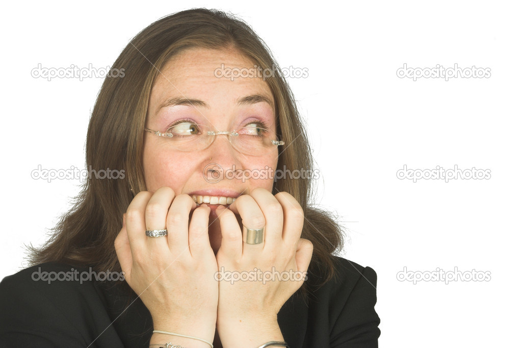 Business woman biting her nails due to nerves — Stock Photo #7633899