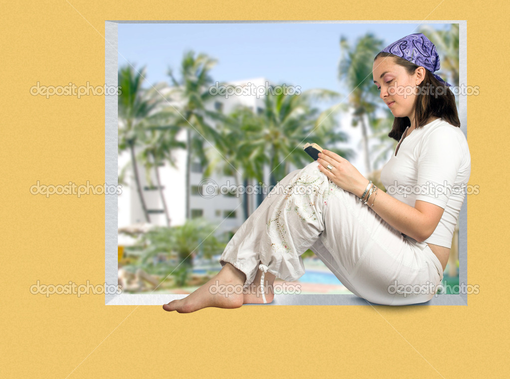 Girl reading a book on her room window with a tropical resort view — Stock Photo #7634179