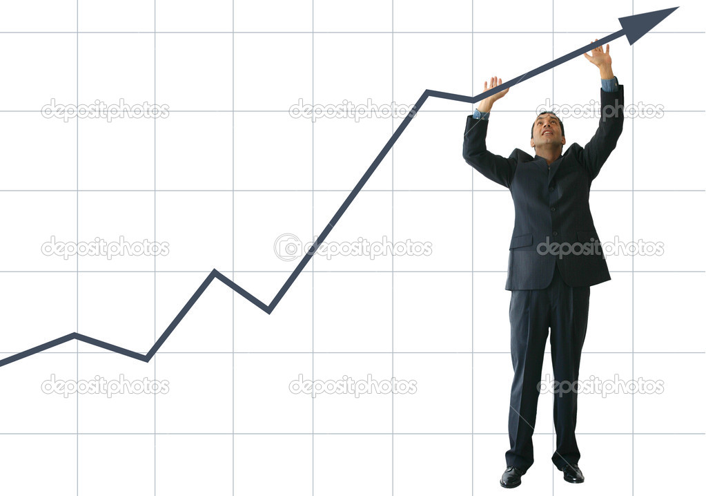 Business graph with business man pushing it up - JE — Stock Photo #7634214
