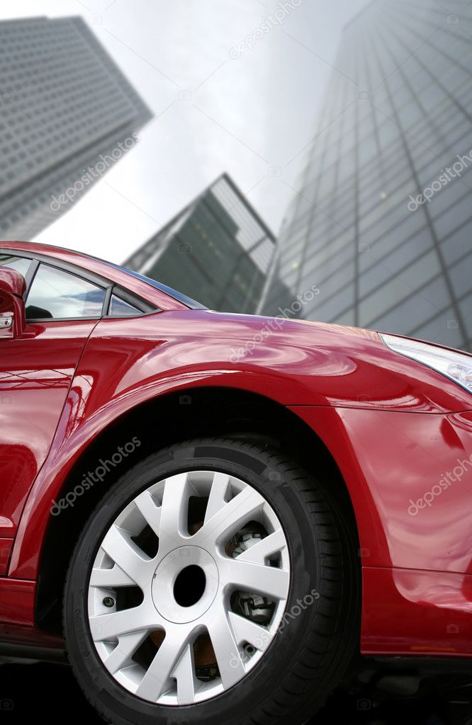 Red sports car in a corporate environment  Stock Photo #7634238