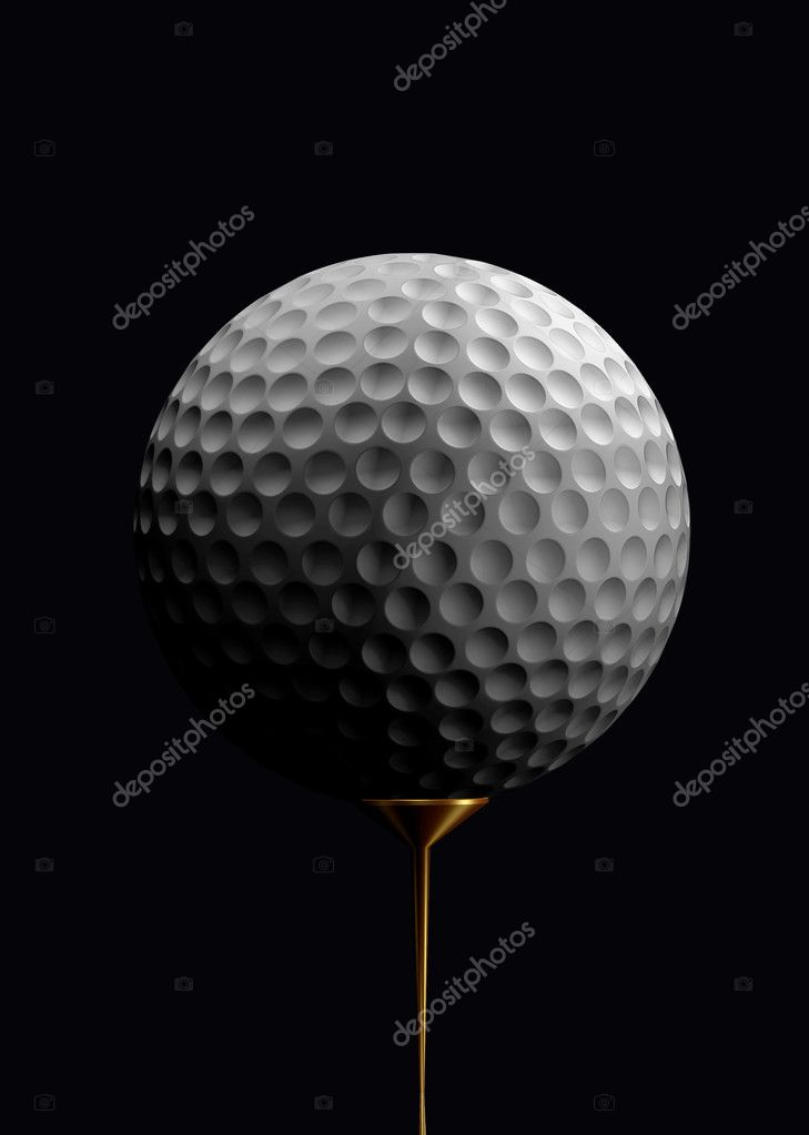 Golf ball close up over black — Stock Photo #7634610