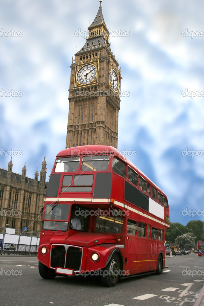Colourful big ben with a classic london bus in front — Stock Photo #7634777