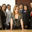 Stock Photo: Business womleading team