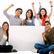 Banner add - happy friends — Stock Photo