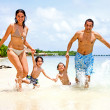 Happy family on vacation — Stock Photo