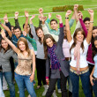 Happy successful students — Stockfoto