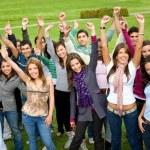 Happy successful students — Stock Photo