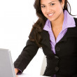 Business woman on a laptop — Stock Photo