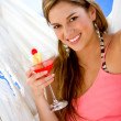 Woman having a cocktail drink — Foto de Stock