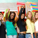 Happy women shopping — Stock Photo