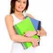 Foto de Stock  : Female student with notebooks
