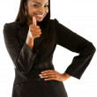 Business woman with thumb up - Stock Photo