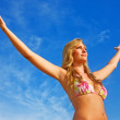 Beach woman freedom — Stock Photo