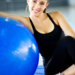 Gym woman doing pilates - Stock Photo