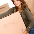 Woman carrying a box - Stock Photo