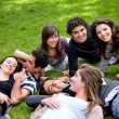 Friends relaxing outdoors — Stock Photo