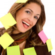 Business woman - post its - Stock Photo