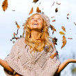 Autumn woman having fun — Stock Photo #7643582